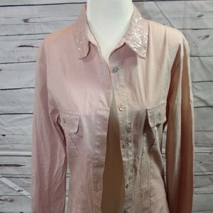 Sequined Collar Button Downed Shirt